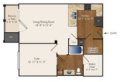 """Allingham"" One Bedroom 803 sq. ft."