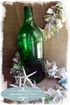 Vintage Green Bottle and Shabby Chic Coastal Re-claimed Fabric Snippet Garland.