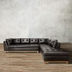"""The Arhaus Garner 118"""" Two Piece Leather Sectional In Libby Espresso brown features graceful form, versatile function & unmatched comfort."""