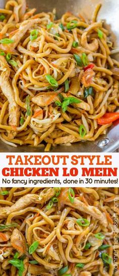 Takeout Style Chicken Lo Mein ~ with chewy Chinese egg noodles, bean sprouts, chicken, bell peppers and carrots in under 30 minutes like your favorite Chinese takeout restaurant! food recipes noodles lo mein Chicken Lo Mein - Dinner, then Dessert New Recipes, Dinner Recipes, Cooking Recipes, Recipies, Holiday Recipes, Holiday Appetizers, Stir Fry Recipes, Holiday Treats, Christmas Recipes