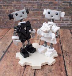 Robot Wedding Cake Topper READY TO SHIP Cute Bots Classic Tux