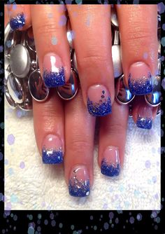 Gel Nails (Grad)-Royal Blue with Disco Ball drag and gems
