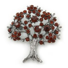 Dark Amber Coloured Crystal 'Tree Of Life' Brooch In Gun Metal Finish - 52mm Length * Details can be found by clicking on the image. (This is an affiliate link) #BroochesandPins