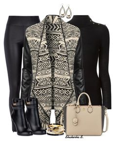 """""""Aztec Cardigan"""" by shakerhaallen ❤ liked on Polyvore featuring Balmain, River Island, Jane Norman, Givenchy, Tory Burch and Nest"""