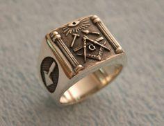 Anello massonico argento 925 massoni / fatto a mano tutte le