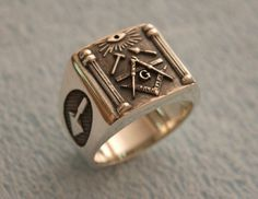 Masonic Sterling Silver 925 Ring Masons / Handmade by silverzone88