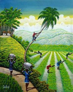 Landscape painting, Haitian painting, Haitians tending their crops, Acrylic painting, Haitian art, Stretched canvas art Mounted on wooden stretcher bars. Measur