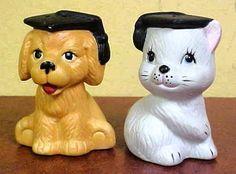 Vintage Porcelain / Ceramic Dog & Cat Graduate Salt & Pepper Shakers
