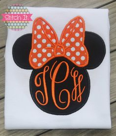 Orange Minnie Mouse monogrammed shirt  by stitchitboutique on Etsy, $22.00