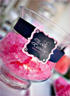 Sweet & Sparkly Wedding Candy Buffet - Pink and Navy // Hostess with the Mostess® Dessert Buffet, Dessert Bars, Dessert Tables, Lolly Buffet, Pink Candy Buffet, Blue Candy, Candy Labels, Candy Jars, Food Labels