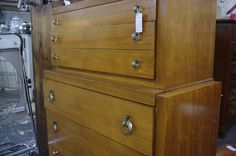 Mid-Century Chest on Chest.  Check Out The Pulls.