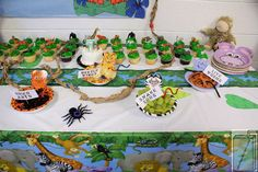 Daisies Zoo Party:  Raisins - Dried Ants  Grapes - Snake Eggs  Chips - Beetle Wings  Live Worms - Licorice?