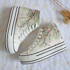 Harajuku fashion plum blossom hand-painted shoes SE9645