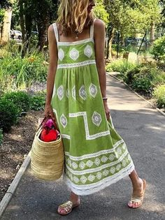 Bohemian loose casual large size dress Cheap Dresses, Casual Dresses, Summer Dresses, Maxi Dresses, Sleeveless Dresses, Holiday Dresses, Outfit Summer, Floral Dresses, Casual Outfits