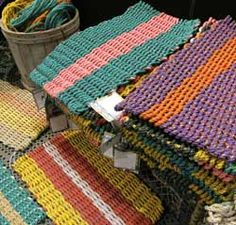 Doormat made from float-ropes from Maine lobstermen.  Helps with safer whale enviornment, and recycling.