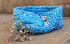 Ladies ear warmer headband Blue ear warmer  Knit by KennaInAfrica, $23.50