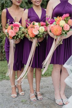 bright bouquets and purple bridesmaids @weddingchicks