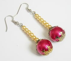 Hot Pink pearl dangle elegant vintage style earrings by AhrensGallery on Etsy