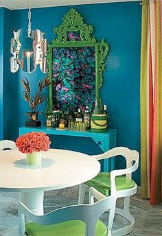 Mediterranean-inspired color scheme of this room. Turquoise, dark aqua, kelly green, with a splash of coral.