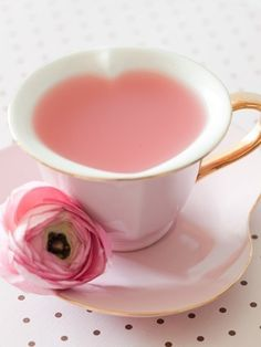 I love the way this tea cup makes a heart shape cup of tea. And the tea is pink! Perfect for a Pink Tea Party! Pink Lady, Pink Pink Pink, Rosa Pink, Pink Milk, Pastel Pink, Everything Pink, High Tea, Afternoon Tea, Pretty In Pink