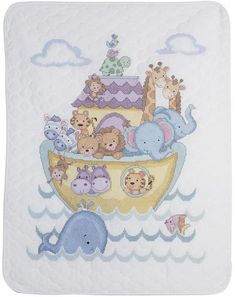 Noah's Ark Crib Cover - Stamped Cross Stitch Kit