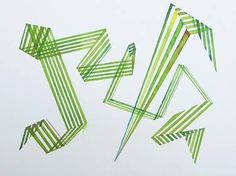 Invisible Cities, watercolor, bouncing, dynamic, geometry, green, lines, movement