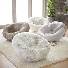 Faux-Fur Groovy Swivel Chair Swivel around in this one-of-a-kind chair. Upholstered in ultrasoft faux-fur, our Gray Leopard Groovy Swivel Chair will easily be the comfiest (and most stylish) seat in the house for lounging, watching movies or doing work. Living Room Chairs, Living Room Decor, Bedroom Decor, Dining Chairs, Chairs For Bedrooms, Gray Room Decor, Tire Chairs, Teen Bedroom Chairs, Bedroom Ideas