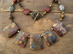 Statement Necklace, jasper bib necklace, bold earthy jewelry with Picasso jasper, pyrite, and brass necklace in red, gold, and green. $80.00