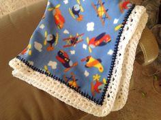 Airplane Nursery Blanket, Fleece Blanket, Crocheted Blanket, Baby Boy Blanket, Blue Blanket by Lorettescottage on Etsy