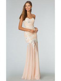 Princess Sweetheart Sleeveless Sweep Chiffon Applique Dress WDNBN00802