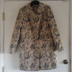 Gold and black floral coat Talk about detail! This coat is amazing! The bottoms are covered in the same material as the coat. There are two functional pockets on the front and a small slit in the back! You will be sure to get compliments on this beauty! Liz Claiborne Jackets & Coats