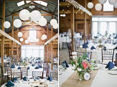 Sweet Root Village: Wedding Flowers: Bluemont Vineyards --- love the blue napkins, burlap table runner, and white linens!