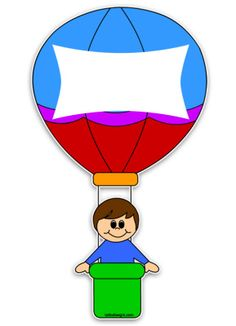 mongolfiera-bambino Hot Air Balloon Classroom Theme, Classroom Themes, Preschool Names, Preschool Activities, Education Clipart, Quiet Book Templates, Birthday Charts, Hello Kitty Images, School Frame