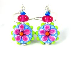 Colorful Funky Flower Earrings Hippie Earrings Bright Color Jewelry Glass Dangle Earrings Spring Earrings Pink Blue Green Lampwork lampwork earrings glass bead earrings colorful earrings glass earrings funky earrings flower earrings hippie earrings flower child earring spring earrings bright color jewelry funky flower pink blue green GlassRiverJewelry 35.00 USD #goriani
