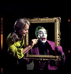 Cesar Romero's usual method of having his Joker makeup applied.