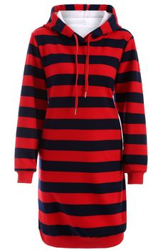 $31.90 Drawstring Striped Thicken Plus Size Hoodie Dress