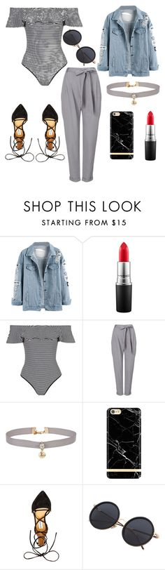 """Bodysuit  and denim 😘"" by anyaaa04 on Polyvore featuring MAC Cosmetics, Topshop, Phase Eight, Miss Selfridge, Richmond & Finch and Steve Madden"