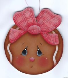 GINGERBREAD Face - Based on a Susan Kelley design... handpainted by Pamela House Gingerbread Ornaments, Christmas Gingerbread, Christmas Wood, Christmas Time, Christmas Ideas, Tole Painting Patterns, Man Crafts, Snowman Faces, Pintura Country