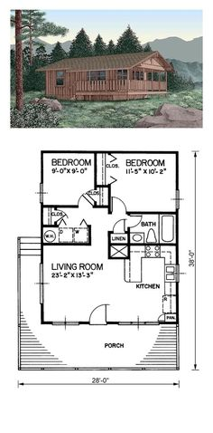 House Plan 45394 - Country Style House Plan with 720 Sq Ft, 2 Bed, 1 Bath Tiny House Cabin, Tiny House Living, Small House Plans, Bungalow, Plan Chalet, Cabin Floor Plans, Tiny Home Floor Plans, Cabin House Plans, Cottage Plan