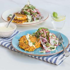 Indian Tofu Fritters with Cucumber Cashew Salad and Yoghurt Lemon ...