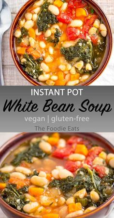 Vegan Instant Pot White Bean Soup - For a soup that fits into a plant-based diet, this recipe certainly delivers a great flavor punch! #instantpot #vegan #plantbased #souprecipes via @thefoodieeats