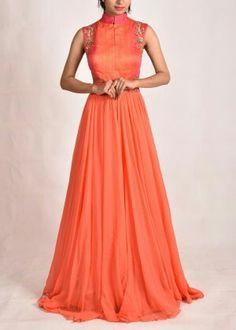Peach georgette gown #vasansi #jaipur #vasansijaipur #shopnow http://www.vasansi.com/fusion-wear/gowns/