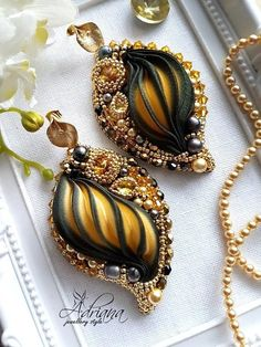Gold black calla shibori earrings by CrystalPearlStudio