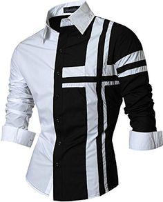 0a629f1413b00 jeansian Mens Slim Fit Long Sleeves Casual Shirts Z014 Black L Mens Attire