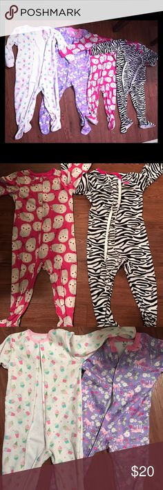 Footie pajamas bundle All Size 3t except the purple one which is 4t. Good condition foot part shows some wear One Pieces Footies