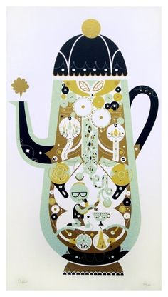 tea pot with a world within. kitchen food art illustration of sollinero's shop.