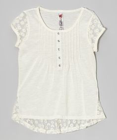 Loving this Beautees Natural Lace Cap-Sleeve Top on #zulily! #zulilyfinds