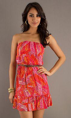strapless fuschia summer dress.