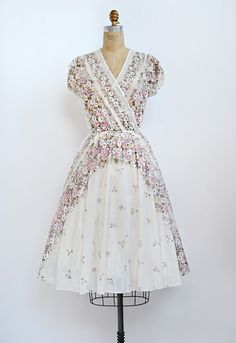 Vintage 1970s sheer floral wrap dress - OMG, I sooo had one of these! My cousin wore it for a (2nd) wedding dress!