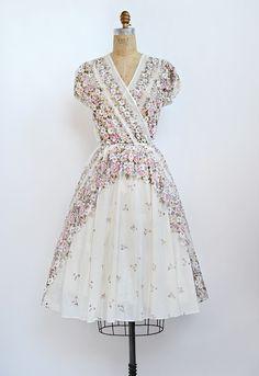 Vintage 1970s sheer floral wrap dress